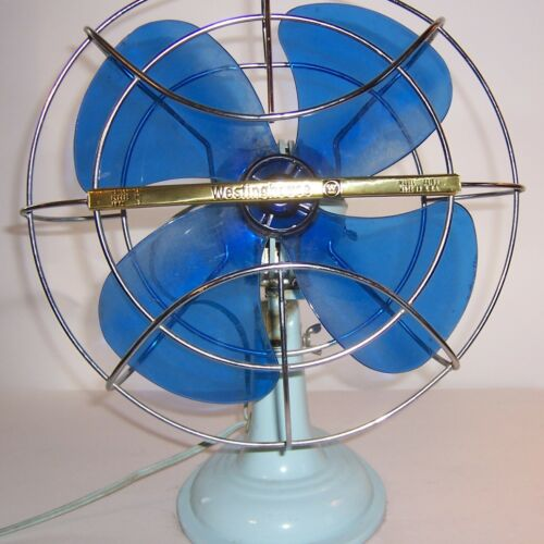 Blue Westinghouse Oscillating Fan AD10-1 Mid Century Modern Blue Blades Vintage