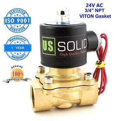 "U. S. Solid 3/4"" Brass Electric Solenoid Valve 24V AC N.C. Air Water Oil"