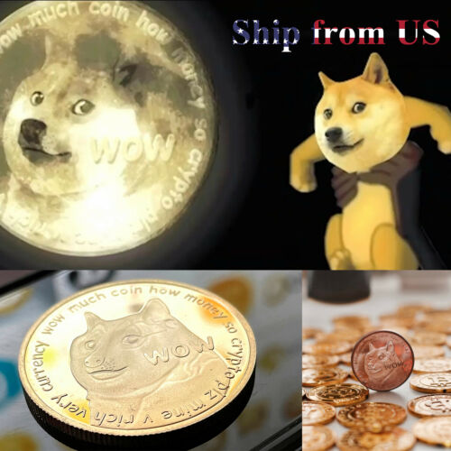 2PCs Cute Dog Dogecoin Doge Coin Crypto Commemorative Collection Collector Gift