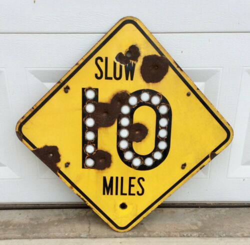 Vintage Speed Limit Road Sign 10 MPH Porcelain with reflectors