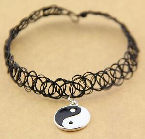 ... -Yang-Tattoo-Choker-Elastic-Necklace-Pendant-Grunge-90s-Ying-Festival