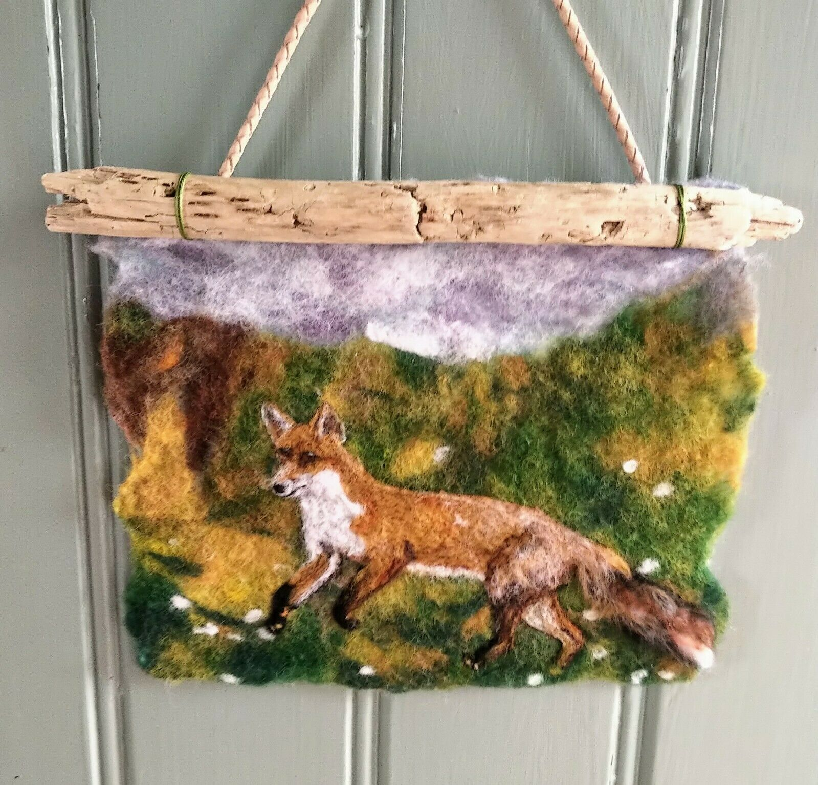 Crafty Fox – Needle Felted Painting- now sold, example only