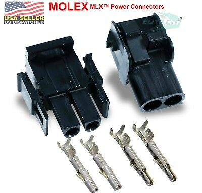 Molex 2-pin Black 11a20a W14-20 Awg Wire Connector - 2.13mm Mlx 1 Set
