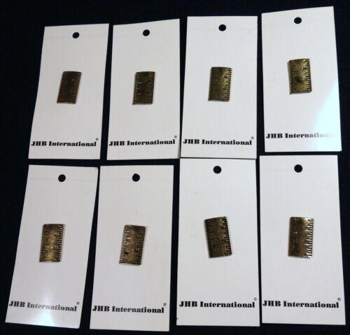 """8 Vtg 1990s JHB International CARDED Metal Novelty BUTTONS Tape Measure Ruler 1"""""""