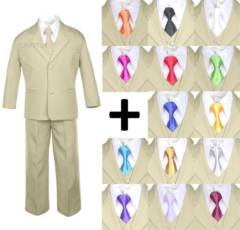 6pc Boy Kid Teen Formal Wedding Khaki Stone Suit Tuxedo Extra Satin Necktie S-4T