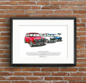 The Italian Job - Austin Mini Cooper S Mk1 ART POSTER A3 size