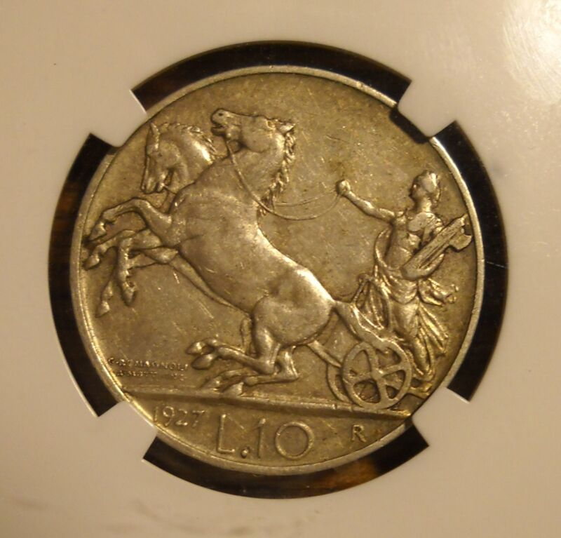 ITALY 1927 R 10 SILVER LIRE - NGC AU 50