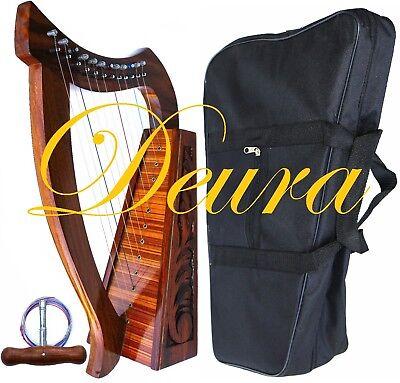 "HARP 24"" CELTIC DEURA (Brand) 12 STRINGS LAP HARP with BAG"
