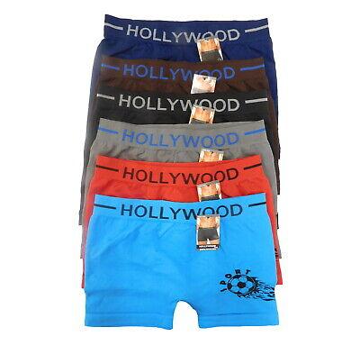 6 PC Seamless Boxer Briefs Microfiber SOCCER BALL Design Compression Underwear