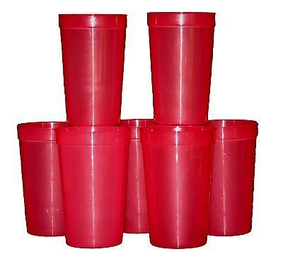 12 -Large 20 Oz Red Translucent Plastic Drinking Glasses, Mfg. USA Lead Free