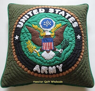 ARMY PILLOW COVER CUSHION hand quilted/machine embroidered