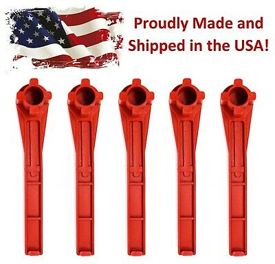 5 Pack Red 4-in-1 Bung Drum Wrench 55-30-15 Gallon Water Barrel Nut Cap Plug