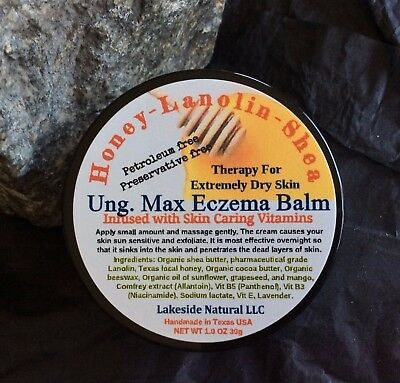 All Natural Honey   Lanolin Ointment Balm Salve For Eczema Extremely Dry Skin