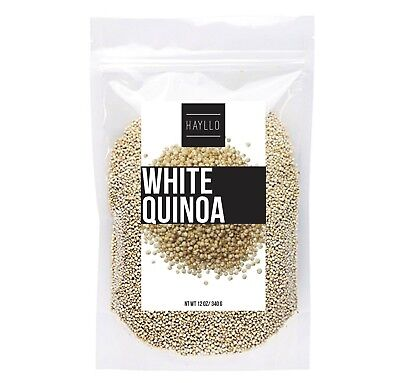 Hayllo Natural Whole Grain White Royal Quinoa In Resealable Bag  12 Ounce