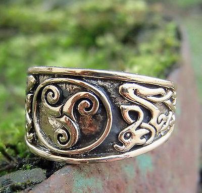 massiv Keltenring Triskele Bronze Gr 60-70 verstellbar Durchmesser 19-22 Kelten