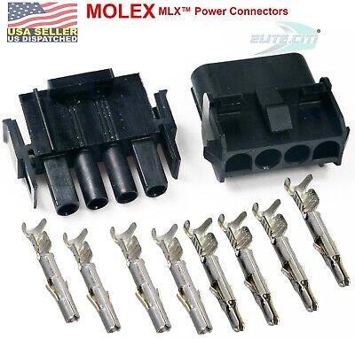 Molex 4-pin Black Wire Connector 11a20a W14-20 Awg - 2.13mm Mlx