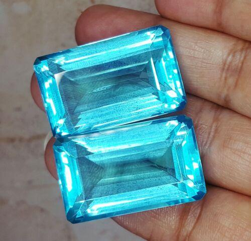 Loose Gemstone Certified Aquamarine 50 To 55 Cts Pair Emerald Shape Z09