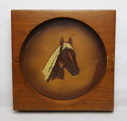 Vintage Mid C Folk Art Painting of Horse on Hand Tooled Leather in Wood Frame