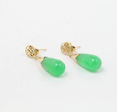 Vintage Ladies Jade 14K Yellow Gold Hanging Earrings