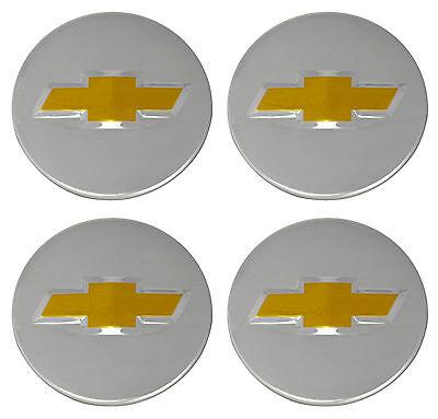 OEM Factory Center Caps Chevy Bow Tie Emblem Logo Chrome Finish 2 1/4 Set of 4 (Chevy Polish)