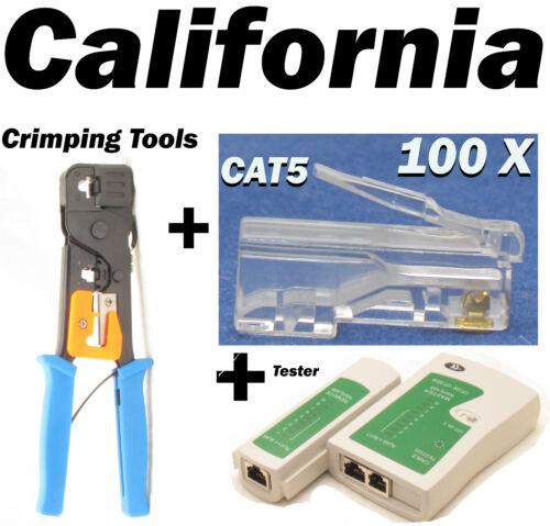 Cable Tester + Crimper + 100 RJ45 CAT5e Connector Plug Network Tool Kits 8P8C 6P