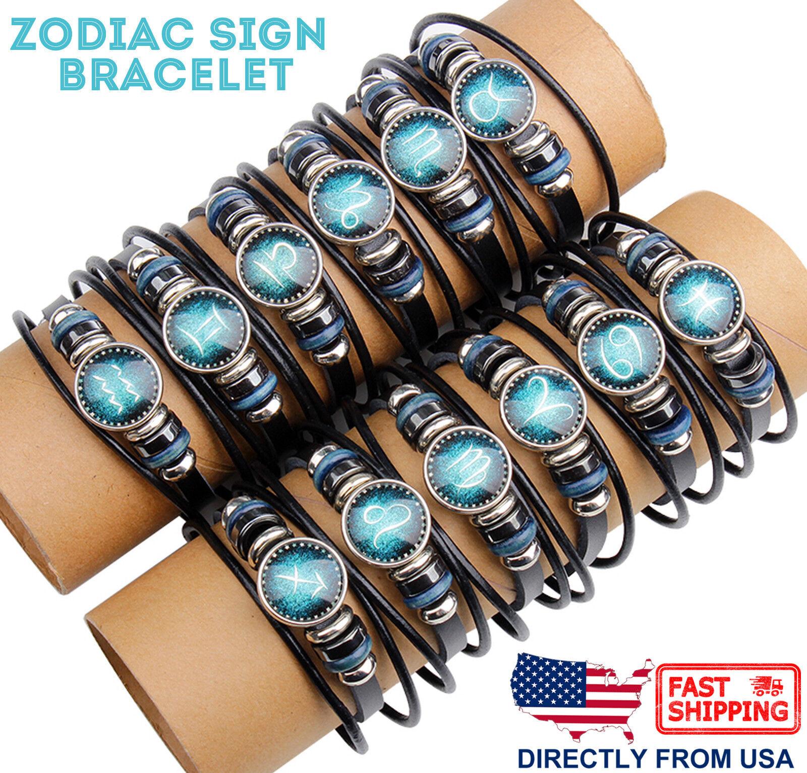 Unisex Astrology Constellation Zodiac Sign Horoscope Leather Wristband Bracelet Bracelets