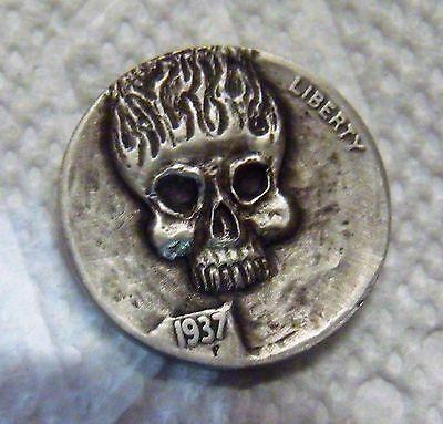 Hobo nickel coin  Flaming skull skeleton zombie  hand carved