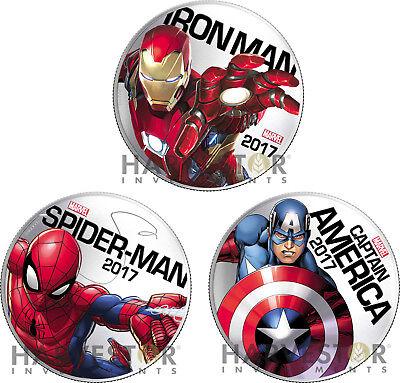 2017 MARVEL LIGHT-UP COIN SERIES 3-COIN SET: IRON MAN, SPIDER-MAN, CAP AMERICA