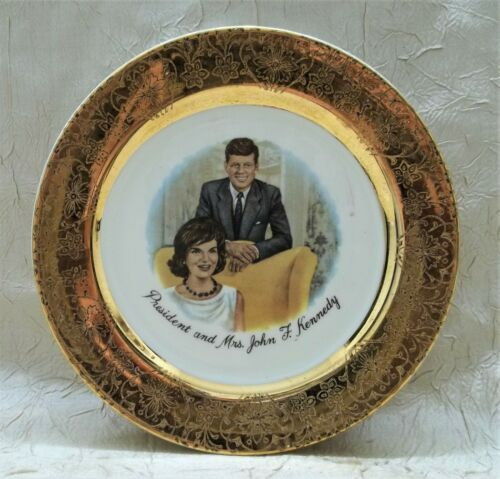 President And Mrs. John F. Kennedy Vintage Small Gold Trimmed Plate