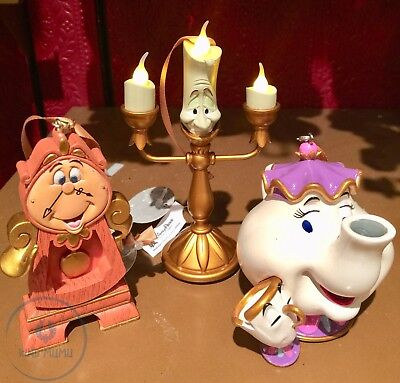 Disney Beauty And The Beast Mrs. Potts Light Up Lumiere Cogsworth Ornaments Set