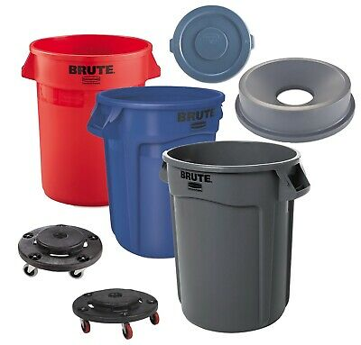 Rubbermaid Plastic Trash Can 32 Gallon Garbage Funnel Lid Brute Commercial Dolly Gallon Commercial Trash Can