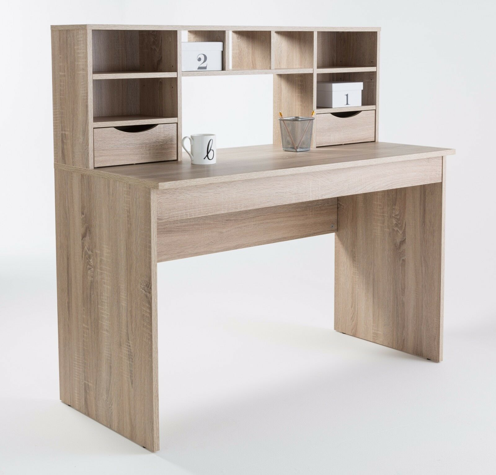 Awesome Details About Albion Sonoma Oak Computer Office Desk Workstation With Drawers And Shelves Download Free Architecture Designs Estepponolmadebymaigaardcom