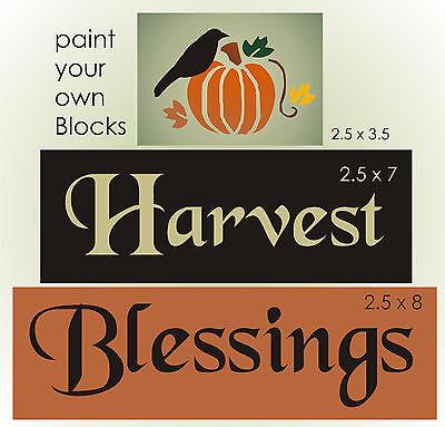 Joanie Stencil Harvest Blessings Primitive Pumpkin Fall Leaves Crow Sign - Harvest Blessings Pumpkin