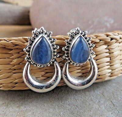 New Blue Jean Kyanite Pear 925 Sterling Silver Door Knocker Post Earrings #131