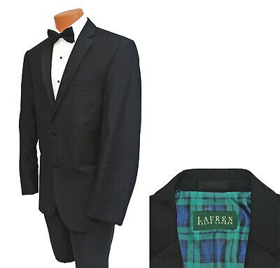 Mens Ralph Lauren Black Tuxedo Jacket 2 Button Notch Lapel Soft Super 130s Wool - Wool Tux