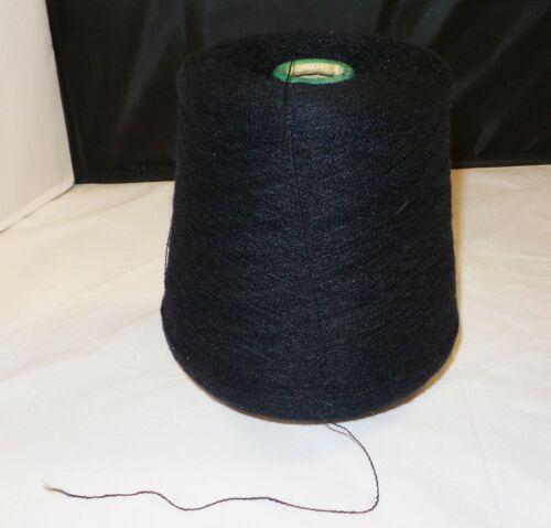 1lb 13oz Acrylic / Nylon Machine Knitting Cone / Spool - BLACK - Thin Yarn
