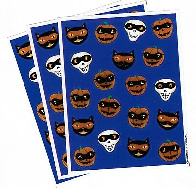 3 Sheets Halloween Scrapbook Stickers! Masked Skeleton Jack o Lantern Black - Halloween Cat Mask Craft