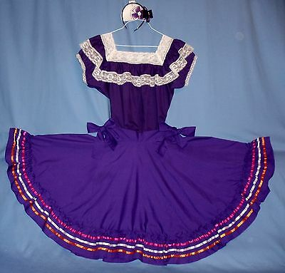 Mexican dress-2-piece skirt-blouse women's 6-8-10 Cinco de Mayo costume;bow;LOT](Cinco De Mayo Costumes For Women)