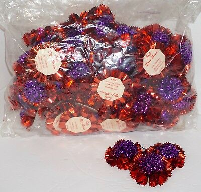 Vintage Bag of 50 Smile Gift Wrap Bows Pom Pom Metallic Foil Red & Purple 2.5