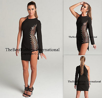 Women Celebrity Metal Black Long Sleeve Evening Party Cocktail Bodycon Dresses