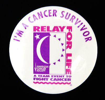 Relay for Life Button Pin White ACS I'm A Cancer Survivor Team Spirit VGUC