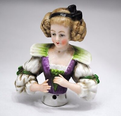 Antique German Pincushion Teepuppe Half Doll Hands Out