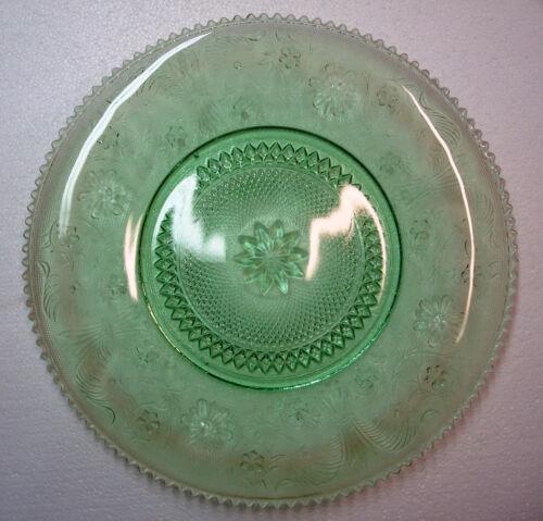"Tiara Chantilly Green Sandwich Large 16"" Serving Platter Tray Indiana Glass Rare"