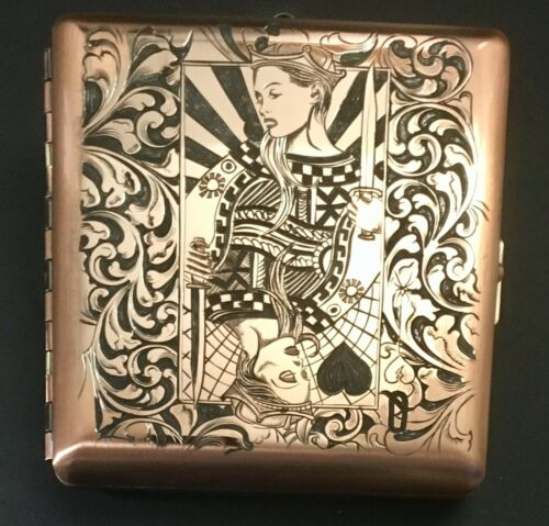 Hand engraved cigarette box. One of a kind