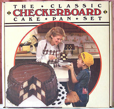 THE CLASSIC CHECKERBOARD CAKE PAN SET w/ 3 - 9