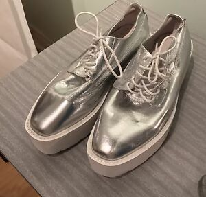Prada Silver Platform Shoes Size 8 Ladies