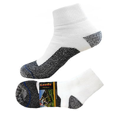 4 Pk ANKLE PREMIUM QUALITY HEAVY THICK CUSHION SOCKS COTTON WHITE 9-11 - Heavy Cushion Sock