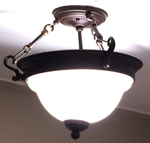 Dark Bronze Glass Shade Semi Flush Mount Light