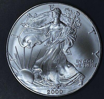 2000 1 oz AMERICAN SILVER EAGLE BRILLIANT UNCIRCULATED ASE  SKU2000B
