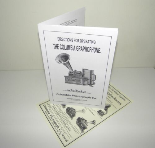 Columbia Graphophone Cylinder Phonograph Instruction Manual  + Advertisement